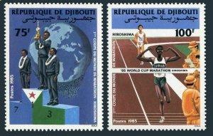 Djibouti 608-609,MNH.Michel 452-453. 1st World Cup Marathon-1985.Globe.