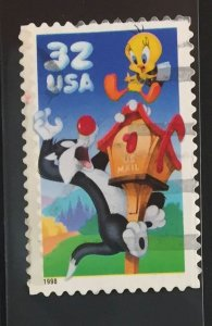 US #3204 Used F/VF - Sylvester Tweety Bird Looney Toons 32c