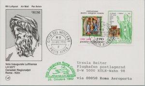 VATICAN CITY CACHET FIRST FLIGHT POSTCARD LUFTHANSA ADDR GERMANY CANCEL YR'1992