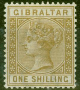 Gibraltar 1887 1s Bistre SG14 Fine & Fresh Lightly Mtd Mint