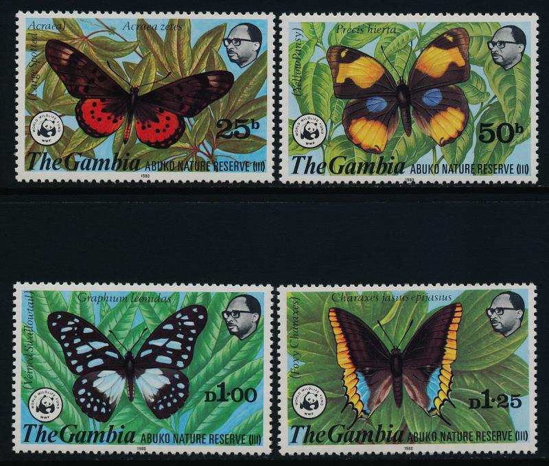 Gambia 404-7 MNH Butteflies, WWF, Abuko Nature Reserve