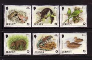 Jersey Sc 806-11 1997 Wildlife Trust stamp set mint NH