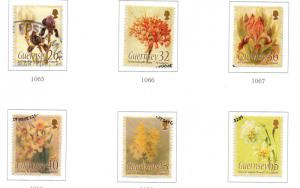 Guernsey Sc 860-5 2005 Caparne Floral Paintings stamps used