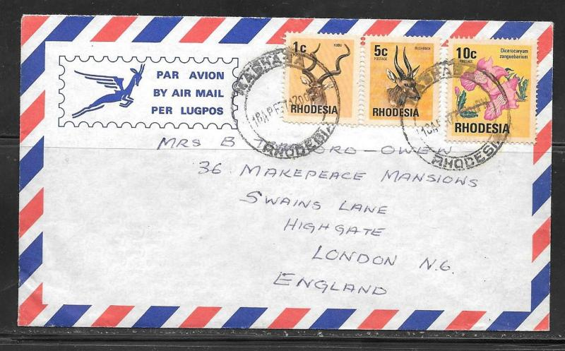 1971 Rhodesia 3 different stamps to England