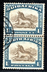 SOUTH  AFRICA Stamp 1s Pair{2} Wildebeest Used BLBLUE44