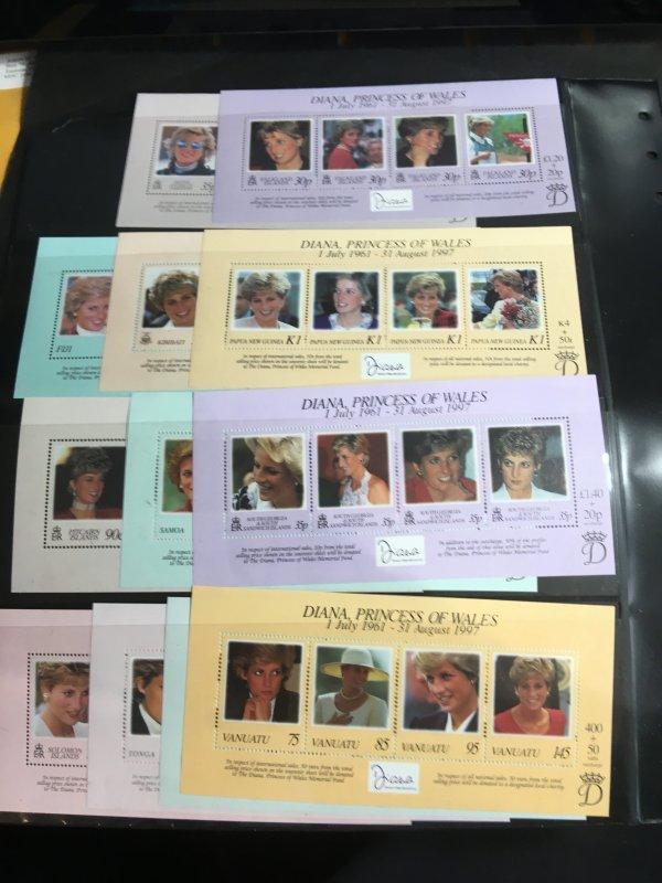 Br. Comm Princess Diana Omnibus Issue 12 Diff. Souv. Sheets From BAT,FalklandEtc