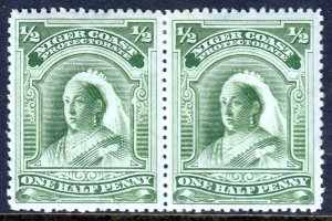 NIGER COAST — SCOTT 43 (SG 51) — 1894 ½d QV PORTRAIT — MH PAIR — SCV $10