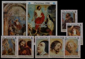 Turks Caicos 869-77 MNH Painting/Rubens/Christmas-90 SCV3...