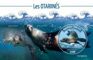 Togo Stamps 2019 .- Sea lions (Zalophus californianus). Blok. Imperf.