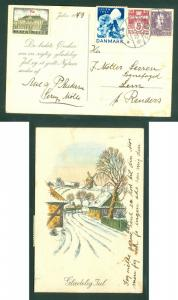 Denmark. Christmas Card 1943 With Poster Stamp + Seal + 5+10 Ore.Cancel: Lemming