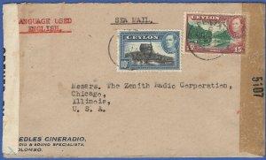 T124 -  CEYLON 1944 WWII Scarce Dual Censored, PETTAH, Colombo > USA by Sea Mail