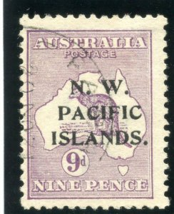 New Guinea 1915 Roos 9d violet (Type A ovpt) very fine used. SG 79. Sc 5.