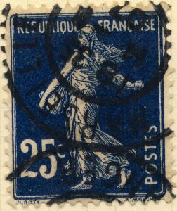 FRANCE - 1907 - Yv.140/Mi.119ax 25c bleu-noir Type 1A - Oblitéré TB (Marseille)
