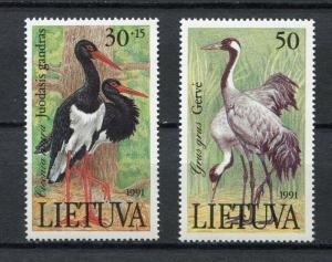 LIETUVA LITHUANIA MNH** 1991, Birds 2v