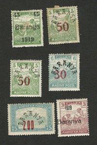 BARANYA - HUNGARY - SERBIA - LOT OF 6 MH/MNH STAMPS - 1919.