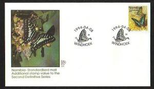 Namibia, Scott cat. 745a. Butterfly Standardised Mail Value. First day cover.