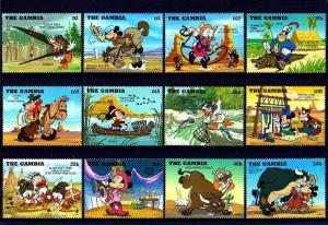 GAMBIA - 1995 - DISNEY - COWBOYS & INDIANS - MICKEY - MINNIE +++ 12 X MINT SET!