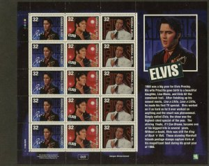 MARSHALL IS. Sc#652 1998 Elvis Presley Mini-Sheet of 5 Cpl Sets of 3 OG Mint NH
