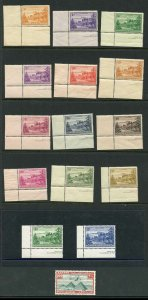Norfolk Is SG1/12a Set U/M 3d green and 2/- blue white paper others toned