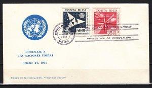 Costa Rica, Scott cat. C324-C325 only. U.N. Organizations. First day cover. ^