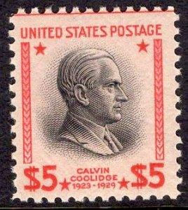US Stamp #834 $5 Coolidge MINT NH SCV $75