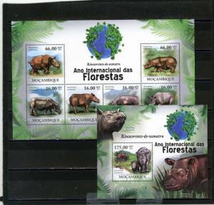 MOZAMBIQUE 2011 Sc#2164,2194 WILD ANIMALS/RHINOCEROS SHEET OF 6 STAMPS & S/S MNH