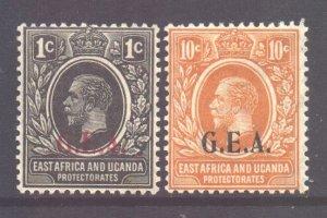 Tanganyika Scott 8/9 - SG72/73, 1922 GEA Overprint Set MH*