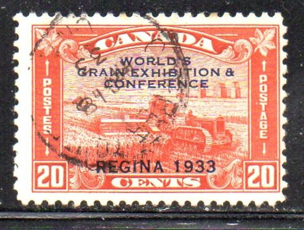 Canada Sc 203 1933 20c Grain Exhibition stamp used