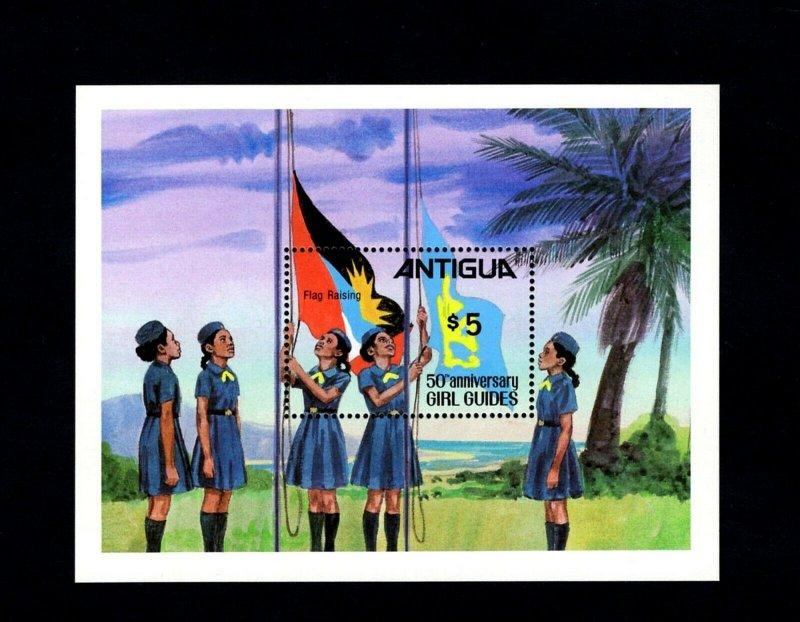 ANTIGUA - 1981 - GIRL GUIDES - 50th ANNIVERSARY - FLAG RAISING + MNH S/SHEET!