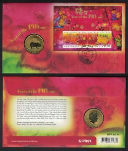 Christmas Is. Chinese New Year 'Year of the Pig' Numismatic FDC