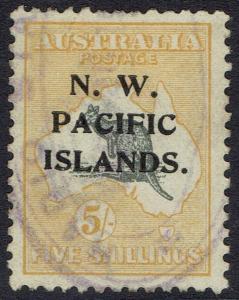 NWPI NEW GUINEA 1918 KANGAROO 5/- 3RD WMK USED