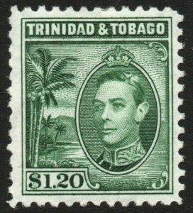 TRINIDAD & TOBAGO-1940 $1.20 Blue-Green Sg 255 MOUNTED MINT V48441
