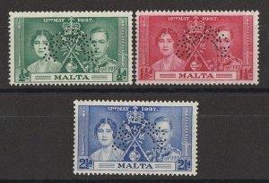 MALTA : 1937 KGVI Coronation set ½d-2½d, perf SPECIMEN. MNH **.