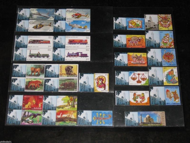 India 2011 INDIPEX My Stamp Set of 29 Stamps Inc Se-tenant Animal Locomotive MNH