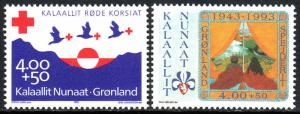 Greenland #B17-B18 MNH CV$5 Red Cross Boy Scouts