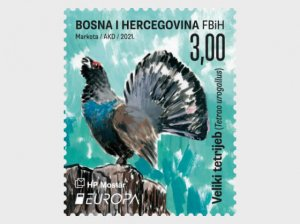 Stamps of Bosnia and Herzegovina Mostar 2021 - Europa 2021 - Big Grouse - Male,