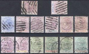 Nigeria Lagos 1887 2d-10s Wmk CA SG 30-42 Scott 18/39 VFU Cat £500($820)