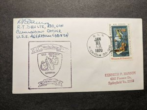 USS AGERHOLM DD-826 Naval Cover 1970 Cachet DESTROYER