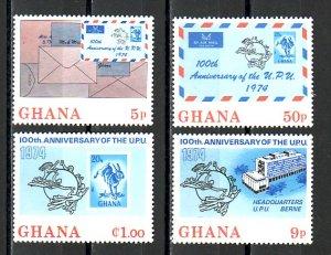Ghana, Scott cat. 512-515. U.P.U. Centenary issue.