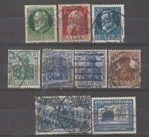 COLLECTION LOT # 4918 GERMANY 9 PERFIN STAMPS 1902+ CV+$16