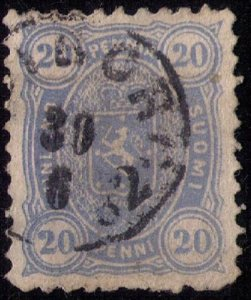 Finland Sc #21b Used 20p Prussian BlueCoat of Arms Very Fine