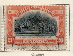 Chile 1910 Early Issue Fine Used 20c. NW-11435