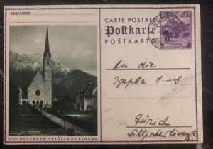 1935 Schaan Liechtenstein PS Postcard cover to Zurich Switzerland