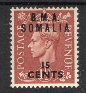 BMA Somalia 1950s Early Issue Fine Mint Hinged 15c. Surcharged Optd NW-14619