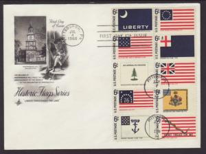 US 1345-1354 Historic Flags Artcraft Label FDC
