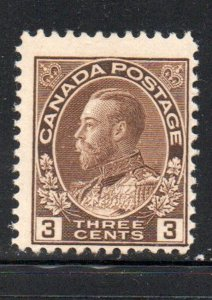 Canada Sc 108 1918 3c brown George V Admiral stamp mint