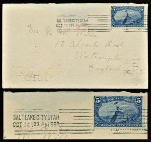 1899  Sc #288 Transatlantic to England Salt Lake Pneumatic Machine Cancel