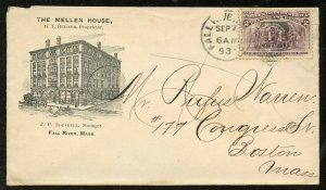 U.S. Scott 231 on 1893 Ad Cover for The Mellen House in Fall River, Mass.