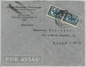 50865 - PORTUGAL - POSTAL HISTORY - AIRMAIL COVER to ITALY 1937