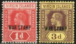 VIRGIN IS. Sc#MR1-MR2 SG78-79 1916-17 War Tax Complete Set OG Mint LH